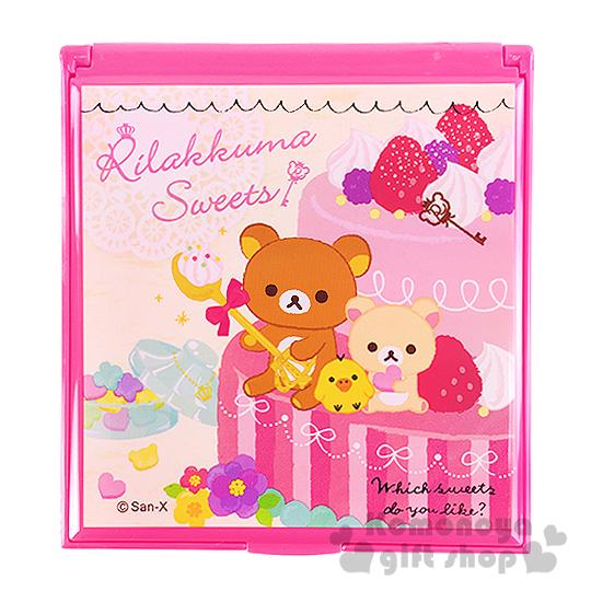 〔小禮堂〕懶懶熊 折疊鏡《粉.草莓蛋糕.花.朋友》