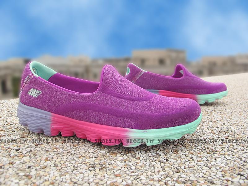 Shoestw【81075LPRMT】SKECHERS 中童鞋 GoWalk2 超軟Q底 紫 桃紅 好穿脫