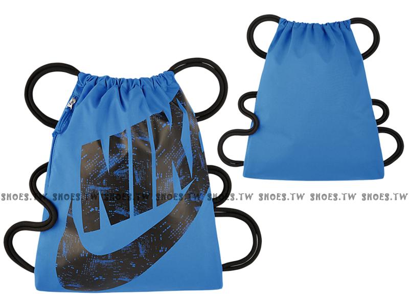 Shoestw【BA5351-435】NIKE MISC 束口袋 側拉鍊 鞋袋 輕便袋 藍黑 大字款