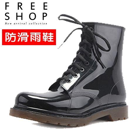 雨鞋 Free Shop【QFSGH9006】情侶款 歐美男女中性防水防滑套鞋水靴高筒馬丁靴軍靴雨靴雨鞋 黑色