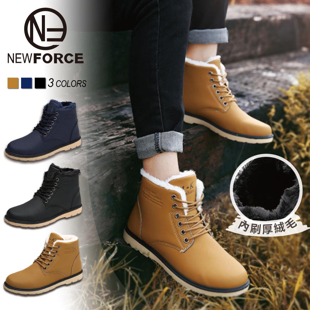 【NEW FORCE】英倫頂級皮面絨毛保暖男雪靴 - 男款/3色可選【6020103】