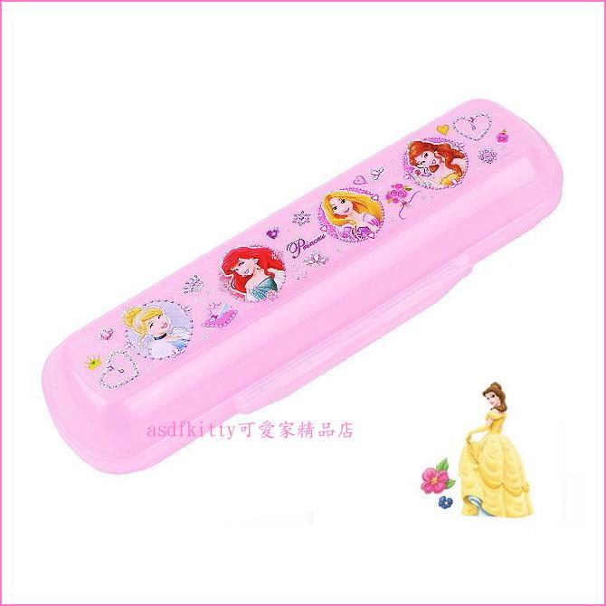 asdfkitty可愛家☆迪士尼公主粉色餐具盒/鉛筆盒/收納盒-盒高度可裝學習筷歐-韓國製