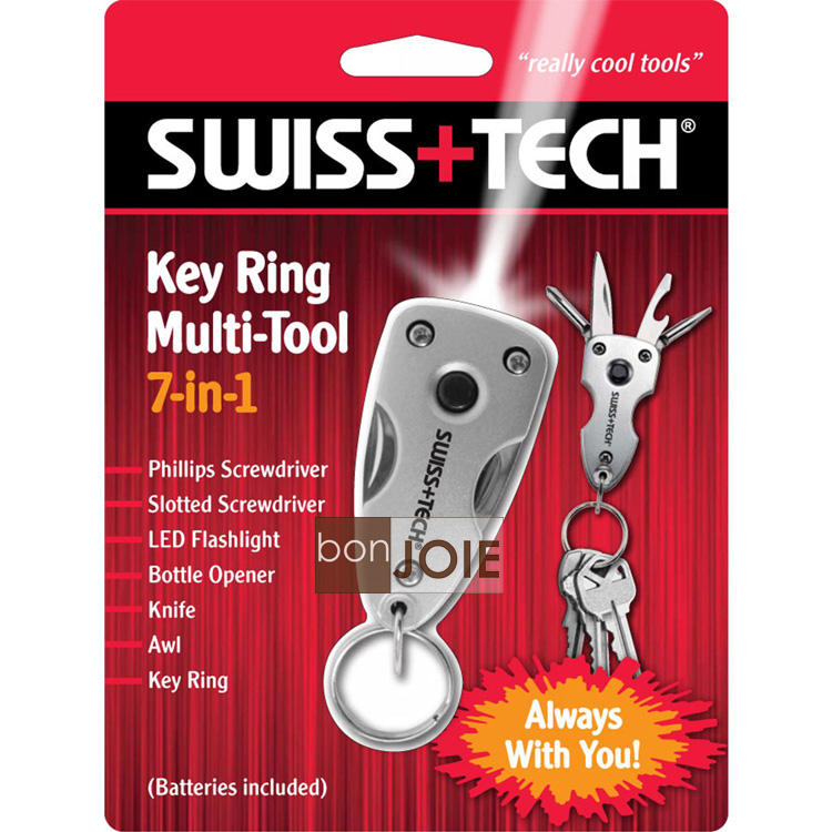 ::bonJOIE:: 美國進口 Swiss+Tech 7 合 1 Key Ring Multi-tool 隨身迷你工具組 (含 LED 燈) 7-in-1 鑰匙圈 Swiss Tech Multitool