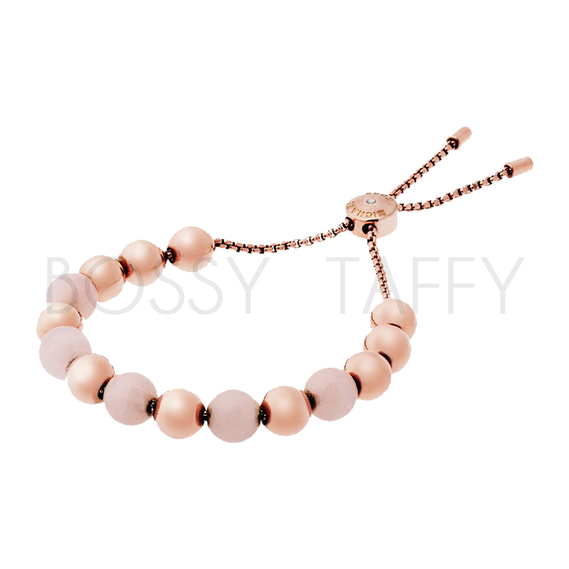 MICHAEL KORS 粉瑪瑙玫瑰金串珠可調式手鍊 MK Rose Gold-Tone Quartz Slider Bracelet