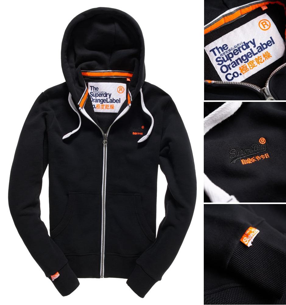 【男款】Superdry極度乾燥2016最新Orange Label系列拉鍊連帽外套 運動 休閒 純棉 外套 墨黑色