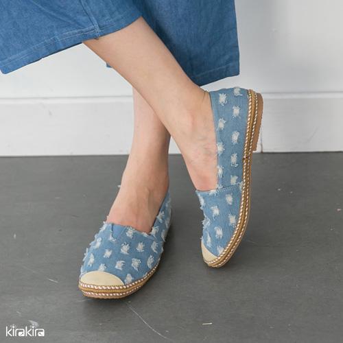 平底休閒鞋 SALE 復刻版牛仔自然刷破拼接平底休閒鞋