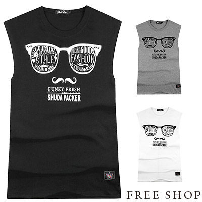 Free Shop【QR73912】歐美潮流眼鏡翹鬍子印花棉質無袖T恤背心‧三色 MIT台灣製 街頭運動球衣