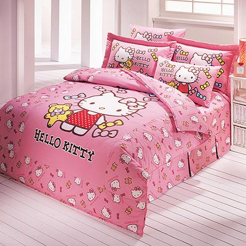 【享夢城堡】HELLO KITTY 哈尼小熊系列-雙人純棉六件式加大床罩組(粉)