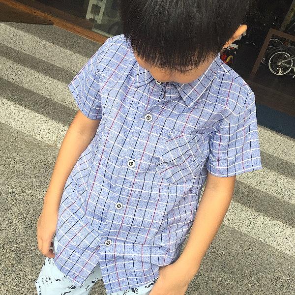 【班比納精品童裝】帥氣小方格短袖襯衫-藍【BO160304016】