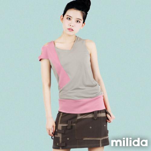 【Milida,全店七折免運】-春夏商品-無袖款-撞色T恤款