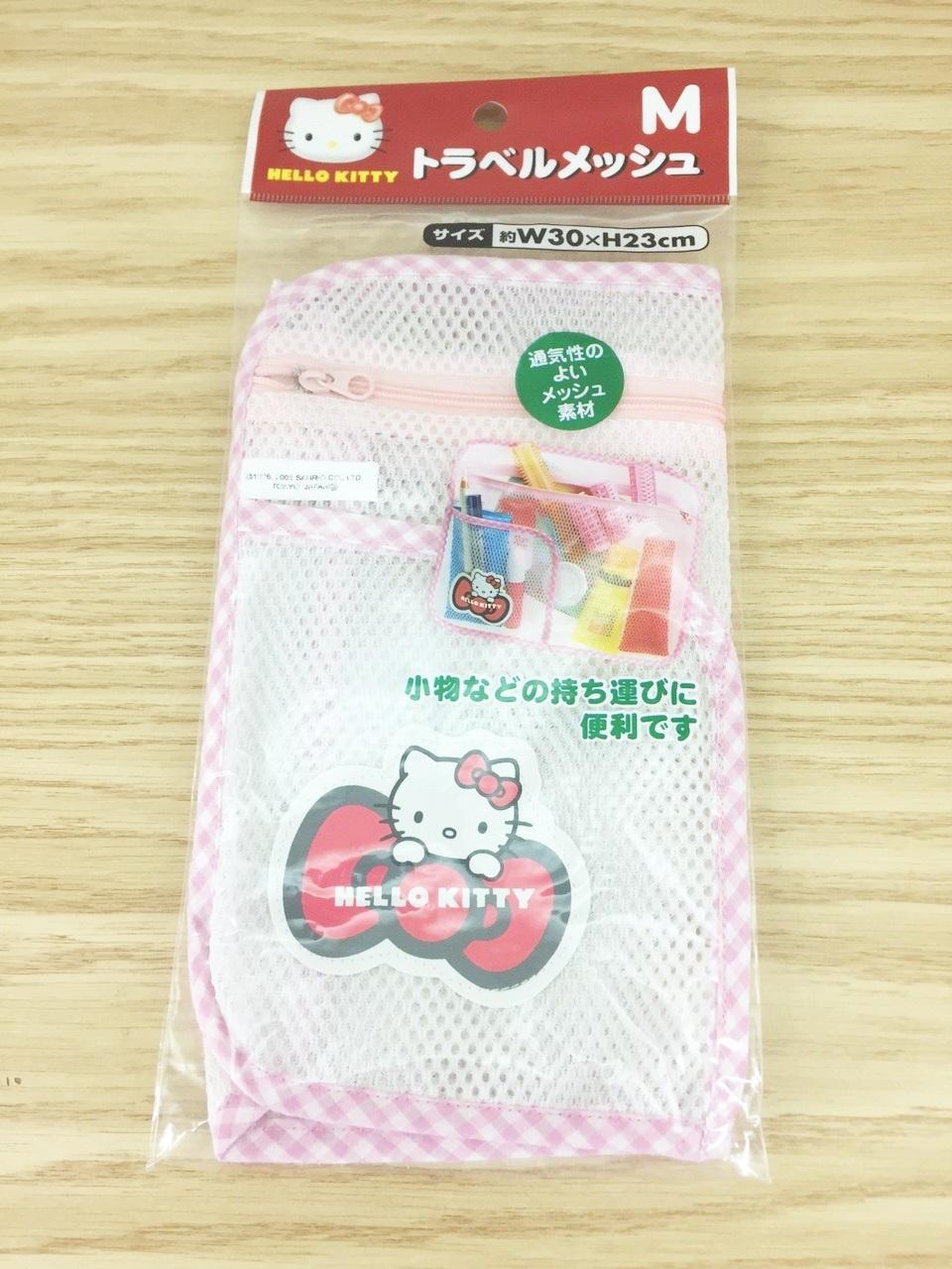 【真愛日本】15122500002 網狀透氣多工收納袋M-紅結 三麗鷗 Hello Kitty 凱蒂貓 收納袋 雜物收
