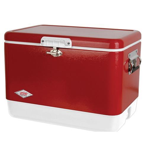 【露營趣】中和 送保冷袋 Coleman  51L 美利紅經典鋼甲冰箱 行動冰箱 冰桶 露營冰桶 CM-03538