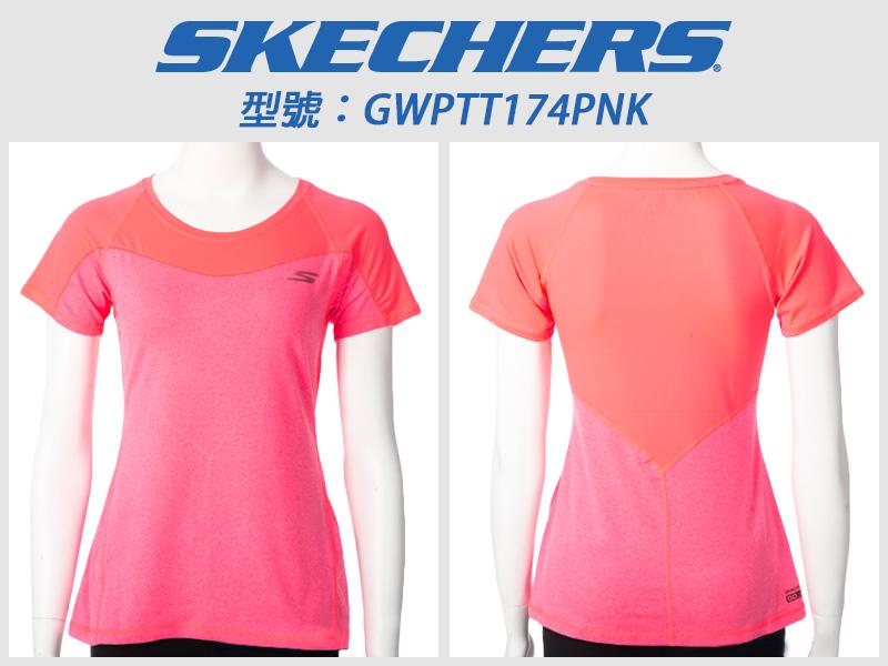 Shoestw【GWPTT174PNK】SKECHERS 運動短袖 彈性排汗衣 桃橘 透氣