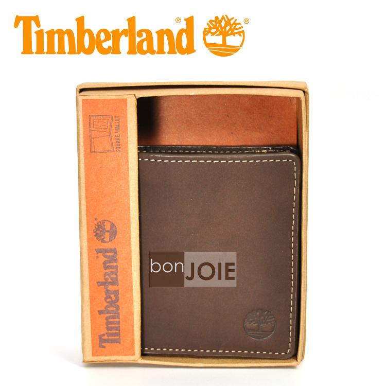 ::bonJOIE:: 美國進口 新款 Timberland 方形極簡通勤透明窗皮夾 (咖啡色 經典磨砂麂皮)(附原廠盒裝) 真皮 二折式 短夾 實物拍攝
