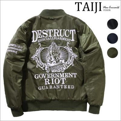 飛行夾克‧ DESTRUCT刺繡空軍MA-1鋪棉飛行夾克‧三色【NQ50225】-TAIJI-外套/設計/美式