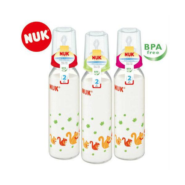 德國NUK 一般口徑玻璃印花奶瓶/230ML/附1號中圓【六甲媽咪】