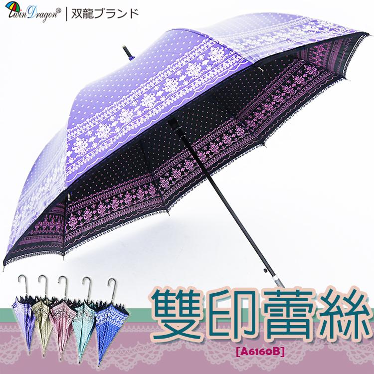 【雙龍牌】洛可可雙面圖案蕾絲宮廷傘(晶亮紫下標區)防曬降溫黑膠自動傘超輕量陽傘貴婦傘A6160B