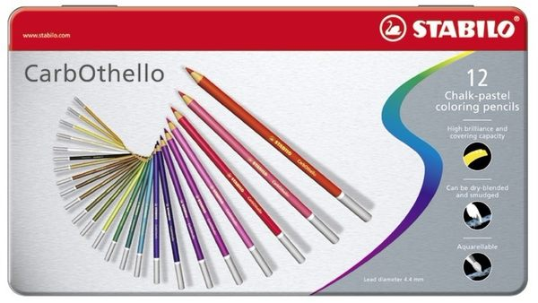 STABILO 德國天鵝牌 CarbOthello系列 4.4mm 水溶性粉彩筆 12色 鐵盒裝(型號:1412-6)