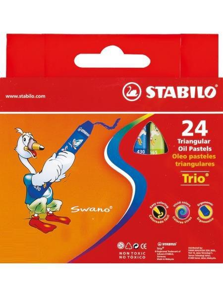 STABILO 德國天鵝牌 trio系列 兒童用油性粉蠟筆 紙盒組 24色24支裝(型號:2624)