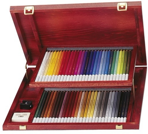 STABILO 德國天鵝牌 CarbOthello系列 4.4mm 水溶性粉彩筆 60色 珍藏木盒裝 附橡皮擦+削筆器+調色皿(型號:1460-1)