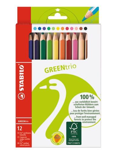 STABILO 德國天鵝牌 GREENtrio 環保認證大三角色鉛筆 12色12支入(型號:6203/12)