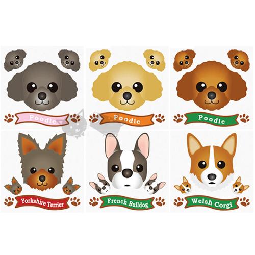 【日本可愛寵物貼紙】可愛狗狗圖鴉貼-共6款 貴賓 柯基 約克夏 法鬥
