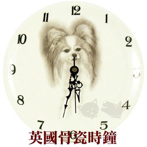 【英國骨瓷】英國骨瓷時鐘-素描名犬插畫-蝴蝶犬法鬥八哥限量款