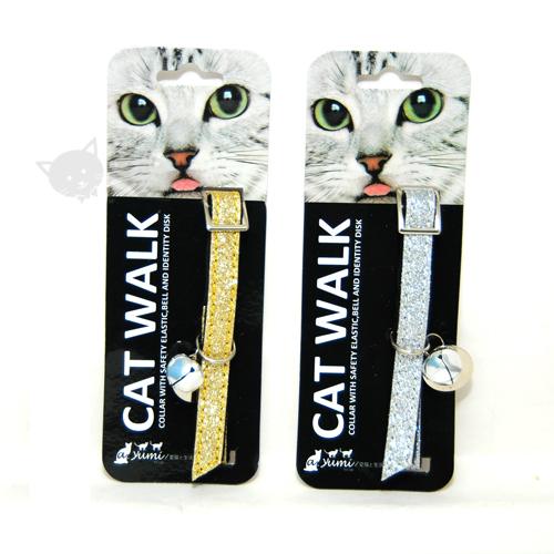 《寵物項圈》寵物貓項圈-亮彩時尚安全貓項圈-金/銀