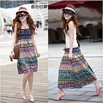 波西米亞亞麻洋裝 / 長裙 (可兩穿)【27103】藍色巴黎 《 5色》現貨+預購