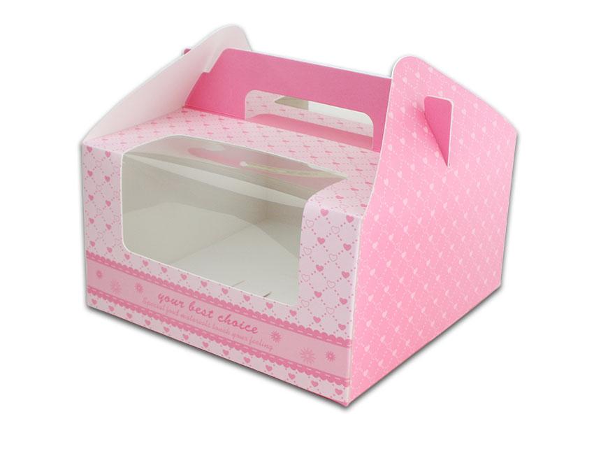 外帶盒、包裝盒、手提盒  4格提盒 MS-4-B(粉色愛心)5 pcs附底托