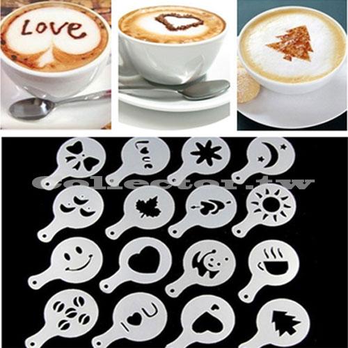 【N16041801】16個 塑料拉花模具 花式咖啡印花模型  咖啡奶泡噴花模板