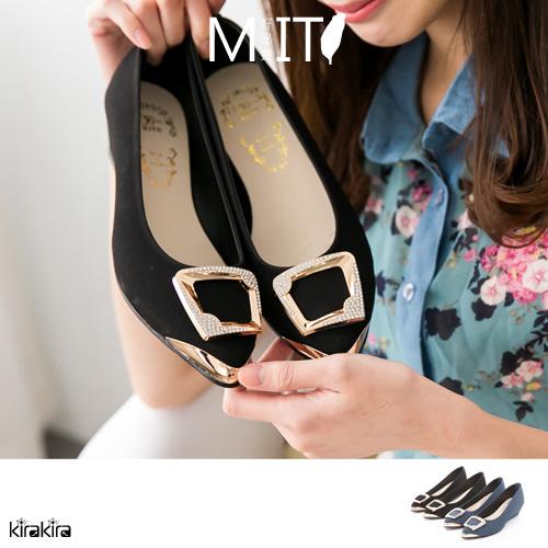包鞋-閃鑽方型金飾低跟楔型尖頭娃娃鞋MIT -2鞋-色【011600019】