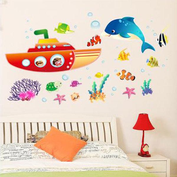 BO雜貨【YV0669】DIY時尚裝飾組合可移動壁貼 牆貼 壁貼 創意壁貼 潛水艇AM009