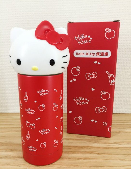 【真愛日本】16012500002  不銹鋼保溫瓶230ml-大頭紅結   三麗鷗 Hello Kitty 凱蒂貓 不鏽鋼 保溫瓶 景品  限量