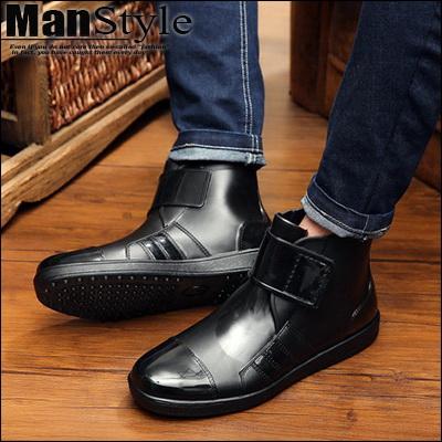 任2+贈1增高墊1088元-ManStyle潮流嚴選韓國魔鬼氈貼男士雨鞋休閒鞋短筒靴雨靴低筒鞋防滑鞋【K9S0993】