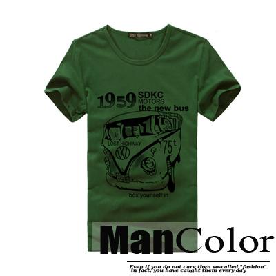 ★組合-任2件288元★ManStyle潮流嚴選【R9B0197】韓系英文復古公車1959圖案軍綠短袖T恤上衣男