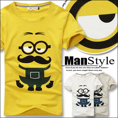 T恤ManStyle潮流嚴選小小兵老爹鬍子眼鏡短袖T恤男【01B6523】
