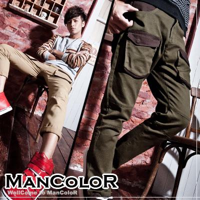 ☆ManStyle☆【01G1045】韓版登山系型男立體大口袋設計層次剪裁窄管休閒長褲-2色