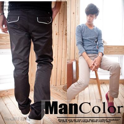 ☆ManStyle☆【01G1083】韓版都會紳士型男絕美白線描邊西裝質感窄管休閒長褲-2色