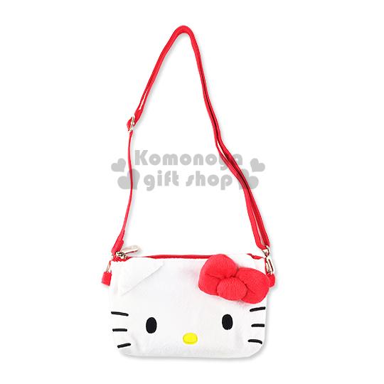 〔小禮堂〕Hello Kitty 透窗斜背手機包《白.大臉.立體耳朵》表面絨毛材質