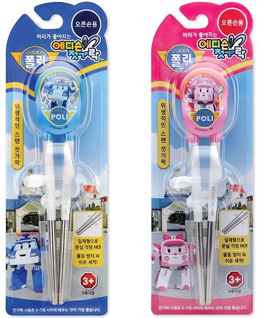 兒童學習餐具-Baby Joy World-【韓國Edison】 Robocar救援英雄不鏽鋼右手專用學習筷 練習筷 (波利/ 安寶)