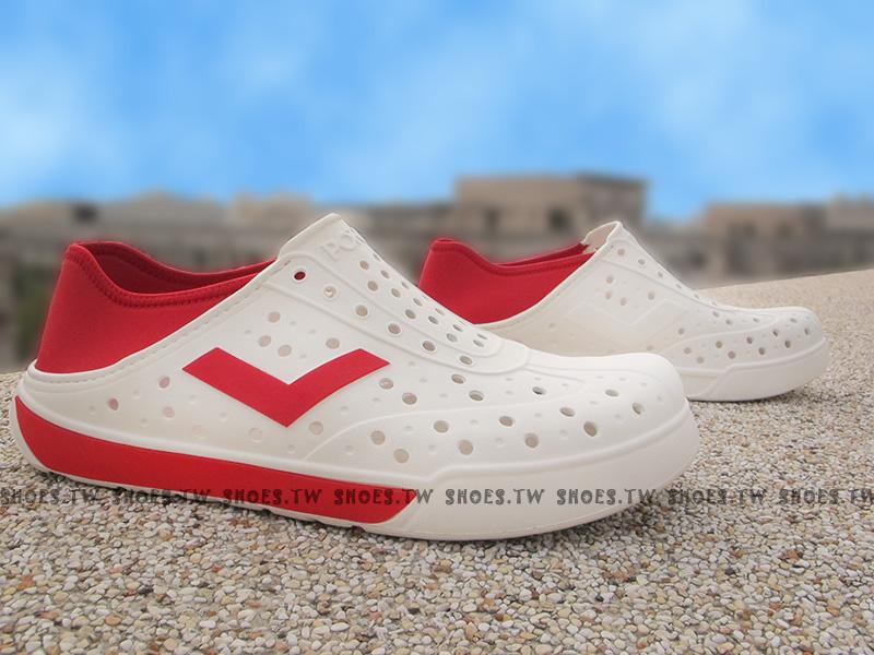 《限時特價79折》Shoestw【62U1SA67RD】PONY 洞洞鞋 可踩跟 新款 懶人拖 白紅 男女都有