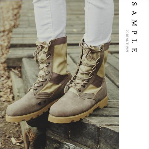 現貨 韓國製 高筒靴【SA14324】帆布拼接麂皮 帥氣軍靴【Sample】-共3色