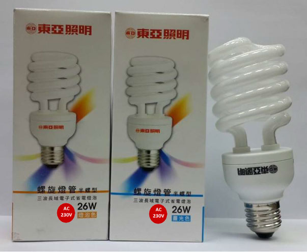東亞★螺旋燈泡 220V 26W 白光 黃光★永旭照明 TO-EFHS26D/L-2