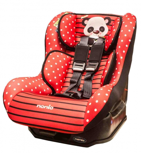 ★衛立兒生活館★NANIA 納尼亞 0-4歲安全汽座-卡通動物系列-熊貓紅(安全座椅)FB00296