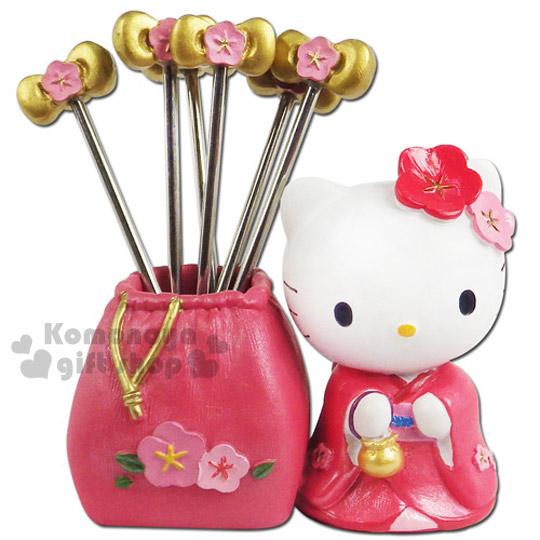 〔小禮堂〕Hello Kitty 幸福開運水果造型叉《小.4入.櫻花蝴蝶結.和服》附造型收納座
