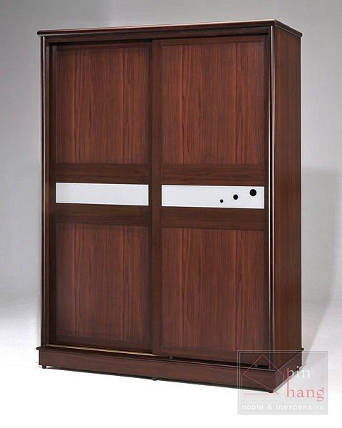 【尚品家具】GF-C01 貝拉胡桃5尺推門衣櫃衣櫥~另有白橡色~台灣製造