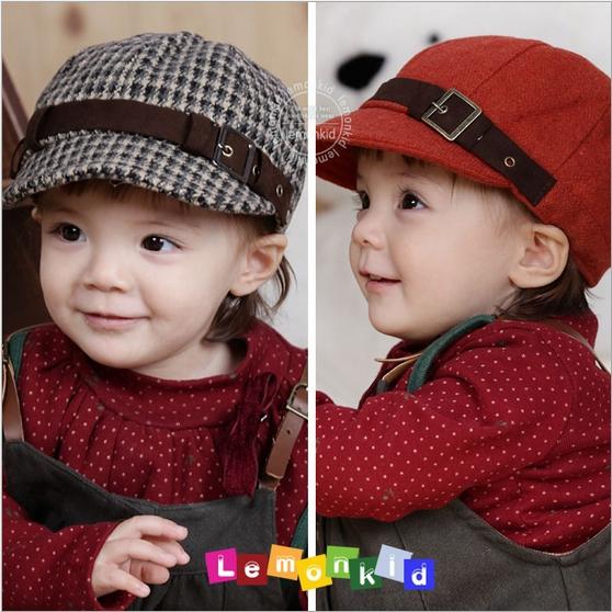 WallFree窩自在★秋冬好質感經典羊毛呢格子帽鴨舌兒童貝雷帽