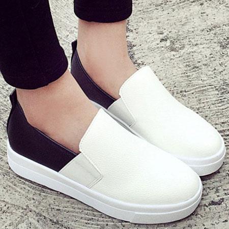 懶人鞋 簡約黑白皮革厚底休閒鞋【S1598】☆雙兒網☆