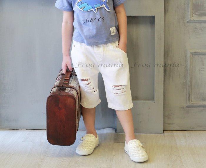 韓系白色刷破五分褲.七分褲短褲9.11.13